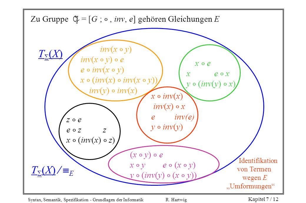 T(X) T(X)  E Zu Gruppe G = [G ;  , inv, e] gehören Gleichungen E